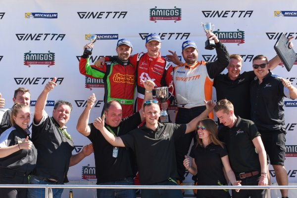 Michelin Ginetta GT4 SuperCup Rockingham, 26th-27th August 2017, Xentek Motorsport on the Podium Celebrating a 1-2-3 Finish, World copyright.. JEP/LAT Images