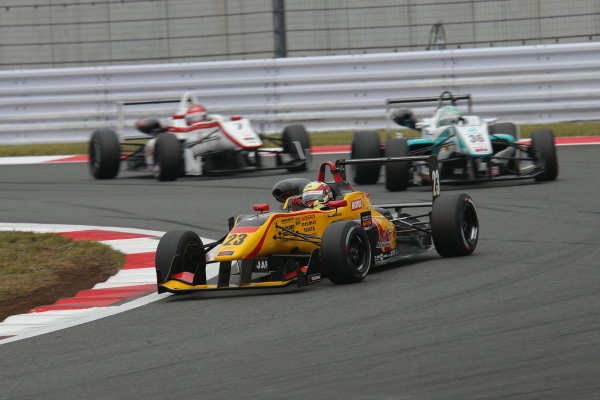 2014 All-Japan F3 Championship. Fuji, Japan. 11th - 12th October 2014. Rd 7. Winner Daiki Sasaki ( #23 B-MAX Racing Team with NDDP ) 2nd position Kenta Yamashita ( #36 PETRONAS TEAM TOM'S ) 3rd position Nobuharu Matsushita ( #7 HFDP RACING ) action World Copyright: Yasushi Ishihara / LAT Photographic. Ref:  2014_JF3_Rd14&15__002.JPG