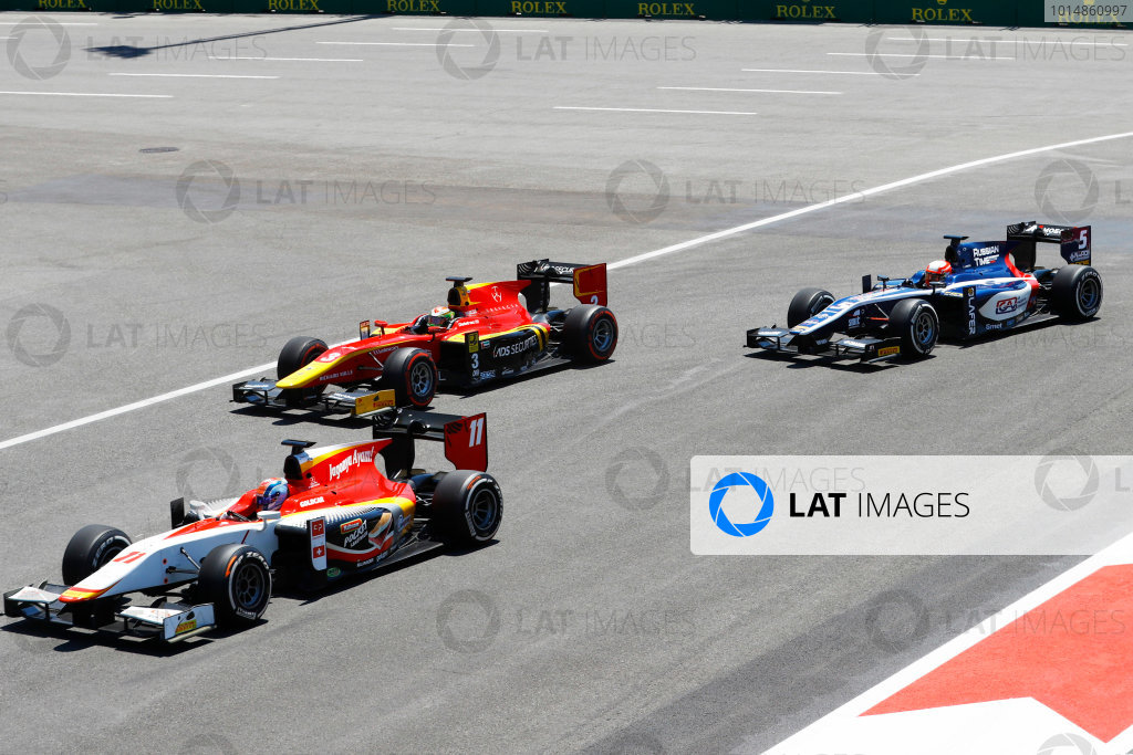 Baku City Circuit, Baku, Azerbaijan. Saturday 24 June 2017. Ralph Boschung (SUI, Campos Racing) Louis Deletraz (SUI, Racing Engineering) and Luca Ghiotto (ITA, RUSSIAN TIME)  World Copyright: Steven Tee/LAT Images ref: Digital Image _R3I2629