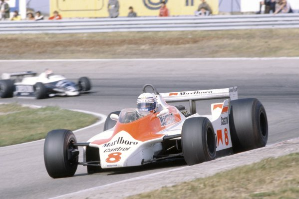 1980 Dutch Grand Prix.Zandvoort, Holland. 29-31 August 1980.Alain Prost (McLaren M30-Ford Cosworth), 6th position, leads Eddie Cheever (Osella FA1-Ford Cosworth).World Copyright: LAT PhotographicRef: 35mm transparency 80HOL18