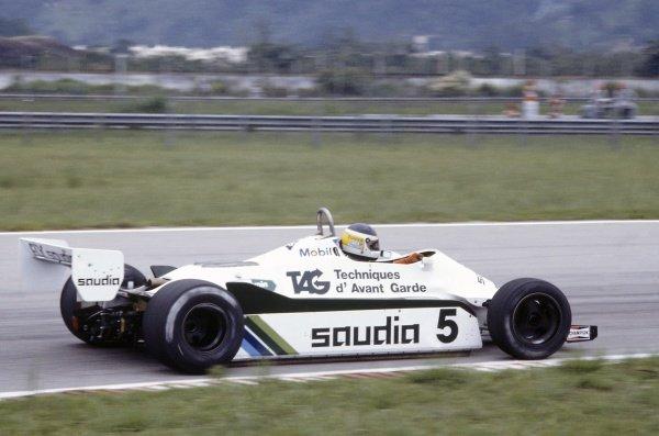 1982 Brazilian Grand Prix.Rio de Janeiro, Brazil. 19-21 March 1982.Carlos Reutemann (Williams FW07C-Ford Cosworth), retired.World Copyright: LAT PhotographicRef: 35mm transparency 82BRA07