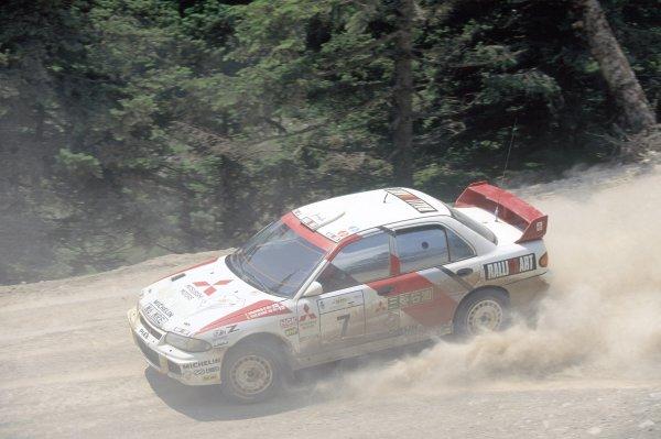 1996 World Rally Championship.Acropolis Rally, Greece. 1-5 June 1996.Tommi Makinen/Seppo Harjanne (Mitsubishi Lancer Evo3), 2nd position.World Copyright: LAT PhotographicRef: 35mm transparency 96RALLY09