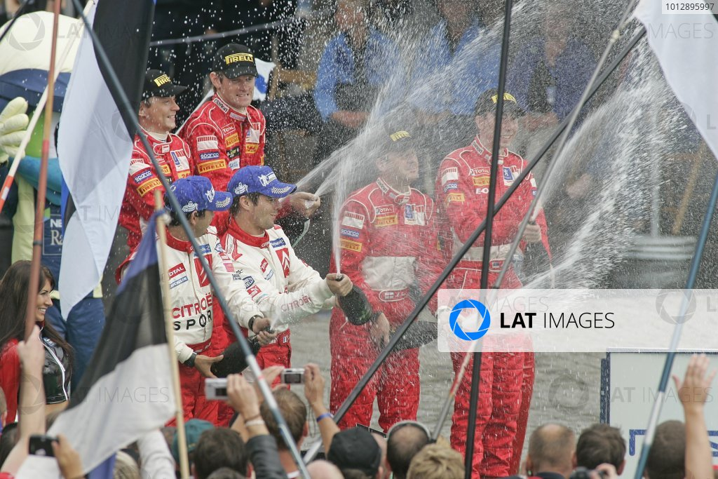 2005 FIA World Rally Champs. Round ten Rally Finland.4th - 7th August 2005.Marcus Gronholm, Peugeot, podium. World Copyright: McKlein/LAT