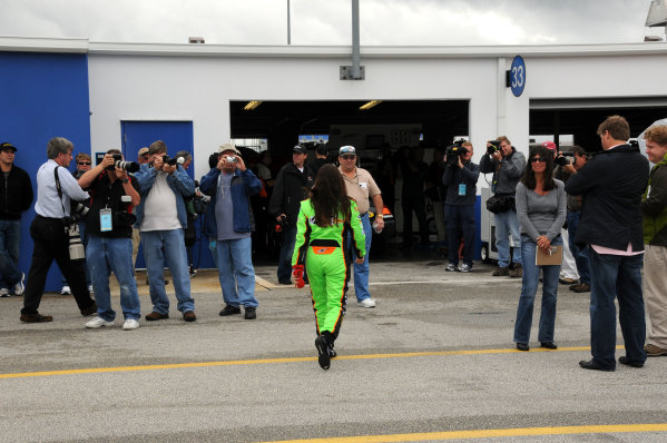 18-20 December, 2009, Daytona Beach, Florida USADanica Patrick heads for the garage with more media in attendance than usual for an ARCA test.©2009, Paul Webb, USALAT Photographic