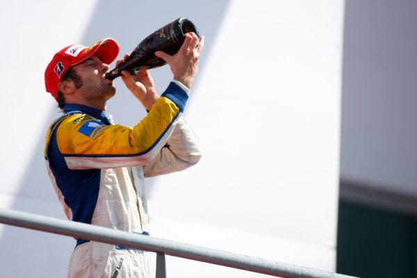 Sunday Race.Luca Filippi (ITA, Super Nova Racing) celebrates his victory on the podium. World Copyright: Alastair Staley / GP2 Series Media Service.Ref: _O9T3917 jpg