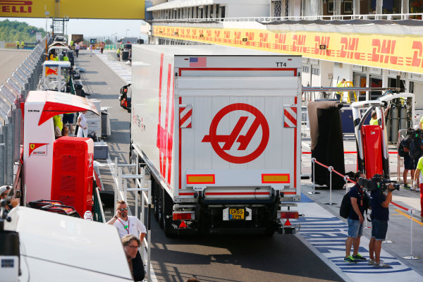 Hungaroring, Budapest, Hungary. Sunday 24 July 2016. Haas F1 in the pit lane after the race. World Copyright: Andy Hone/LAT Photographic ref: Digital Image _ONZ4250