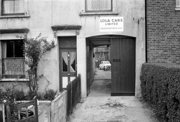 1961, The entrance to a rather modest Lola Cars Ltd Factory