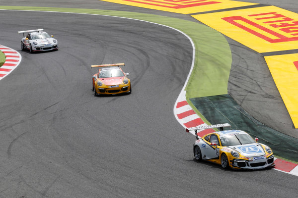 Circuit de Catalunya, Barcelona, Spain. Sunday 10 May 2015. Christian Engelhart, No.14 MRS GT-Racing, leads Philipp Eng, No.17 Market Leader by Project 1, and Robert Lukas, No.19 Förch Racing by Lukas MS. World Copyright: Steven Tee/LAT Photographic. ref: Digital Image _L4R9655