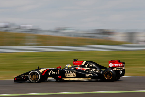 Silverstone, Northamptonshire, England. Wednesday 9 July 2014. Charles Pic, Lotus E22 Renault.  World Copyright: Zak Mauger/LAT Photographic. ref: Digital Image _L0U7894