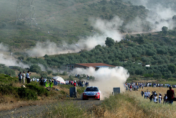 Jussi Valimaki in action in the Hyundai Accent WRC, Acropolis Rally 2003.Photo: McKlein/LAT