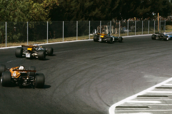 1969 Mexican Grand Prix.  Mexico City, Mexico. 17-19th October 1969.  Jackie Stewart, Matra MS80 Ford, leads Jacky Ickx, Brabham BT26A Ford, Jack Brabham, Brabham BT26A Ford, and Denny Hulme, McLaren M7A Ford.  Ref: 69MEX03. World Copyright: LAT Photographic