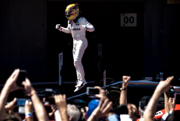 Circuit de Catalunya, Barcelona, Spain. Sunday 14 May 2017. Lewis Hamilton, Mercedes F1 W08 EQ Power+, jumps from his car after winning the race. World Copyright: Glenn Dunbar/LAT Images ref: Digital Image _31I6240