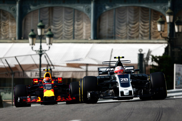 Monte Carlo, Monaco. Thursday 25 May 2017. Kevin Magnussen, Haas VF-17 Ferrari, leads Max Verstappen, Red Bull Racing RB13 TAG Heuer. World Copyright: Sam Bloxham/LAT Images ref: Digital Image _W6I0615