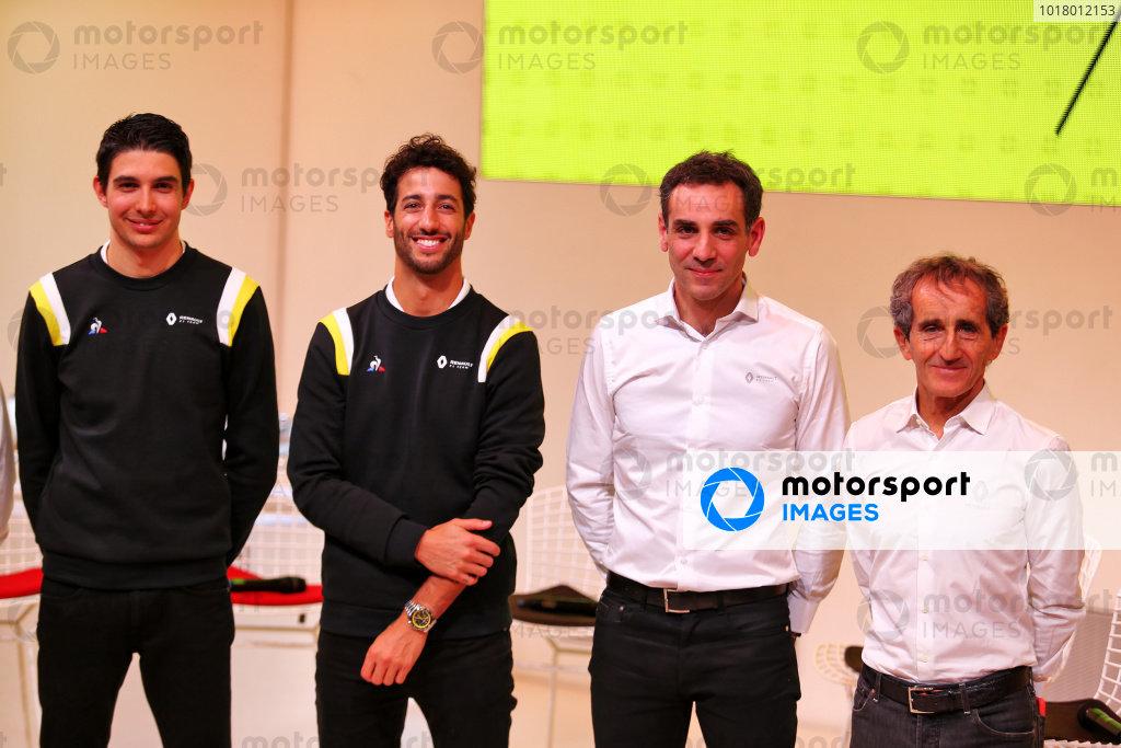 (L to R): Esteban Ocon (FRA) Renault F1 Team; Daniel Ricciardo (AUS) Renault F1 Team; Cyril Abiteboul (FRA) Renault Sport F1 Managing Director; Alain Prost (FRA) Renault F1 Team Non-Executive Director. Copyright: James Moy/XPB/Renault F1