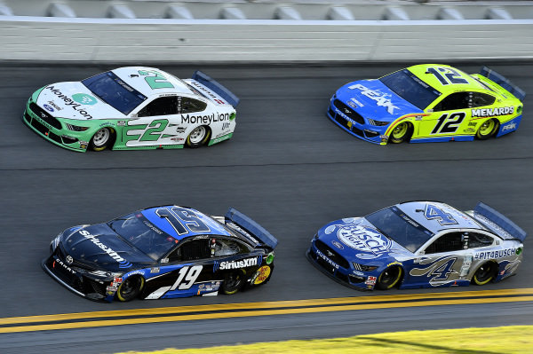 #19: Martin Truex Jr., Joe Gibbs Racing, Toyota Camry SiriusXM, #2: Brad Keselowski, Team Penske, Ford Mustang MoneyLion, #4: Kevin Harvick, Stewart-Haas Racing, Ford Mustang Busch Light #PIT4BUSCH, and #12: Ryan Blaney, Team Penske, Ford Mustang Menards / Peak