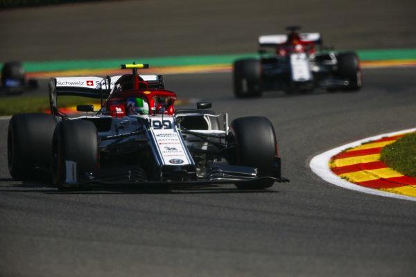 Antonio Giovinazzi, Alfa Romeo Racing C38, leads Kimi Raikkonen, Alfa Romeo Racing C38