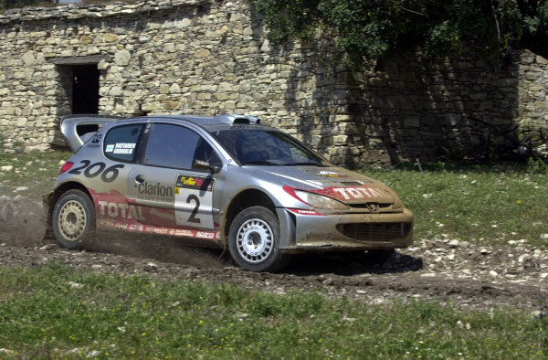 World Rally Championship, Cyprus Rally, April 18-21, 2002.Marcus Gronholm in action on Stage 17, Leg 3.Photo: Ralph Hardwick/LAT