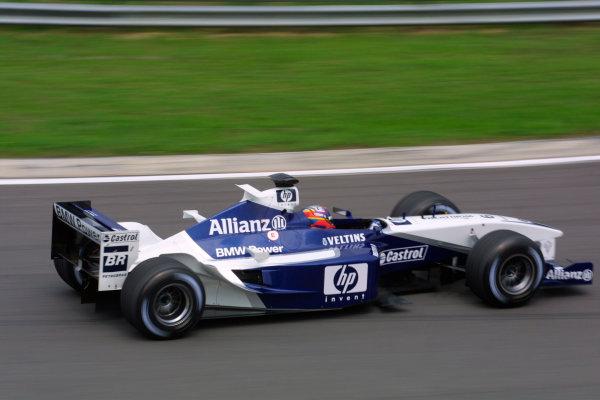 2002 Hungarian Grand Prix - Friday PracticeHungaroring, Budapest, Hungary. 16th August 2002Juan Pablo Montoya (Williams FW24-BMW).World Copyright - LAT Photographicref: digital file