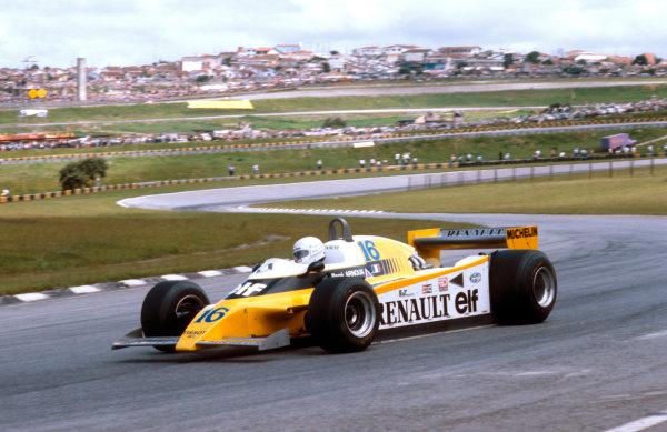 1980 Brazilian Grand Prix.Interlagos, Sao Paulo, Brazil.25-27 January 1980.Rene Arnoux (Renault RE20) 1st position.Ref-80 BRA 16.World Copyright - LAT Photographic