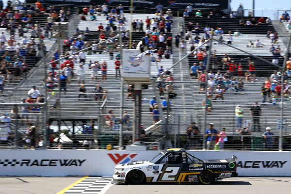#2: Sheldon Creed, GMS Racing, Chevrolet Silverado Chevy Accessories drives under the checkered flag to win