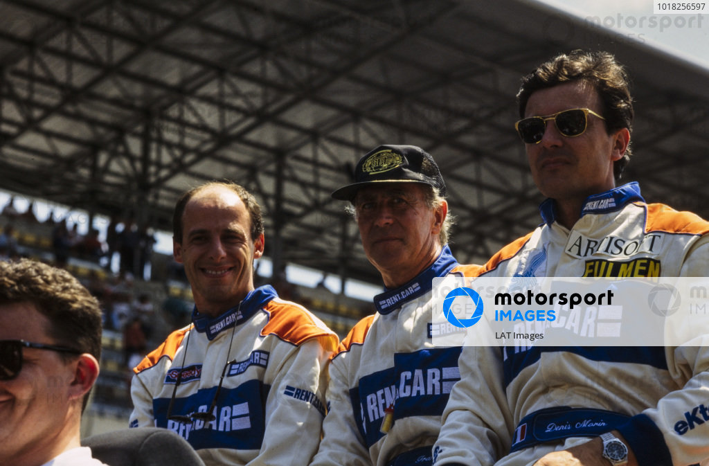 Philippe Gache, Francois Migault and Denis Morin, Rent-a-Car Racing Team, on the drivers parade.