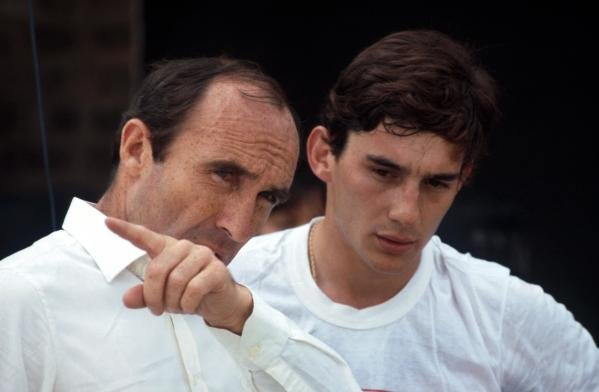 Ayrton Senna (BRA) (right) discusses his first run in the Williams FW08C with team owner Frank Williams (left).