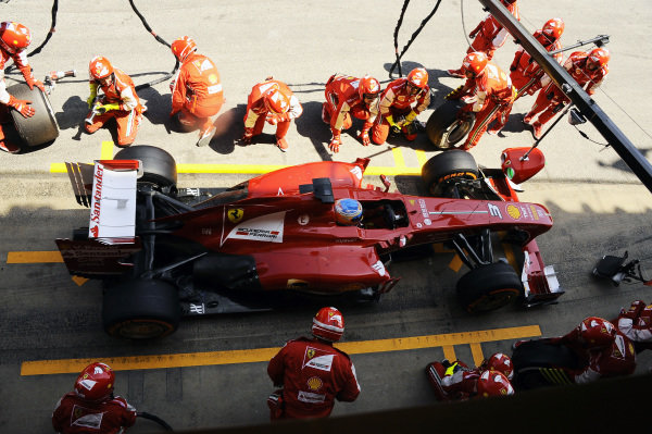 Race winner Fernando Alonso (ESP) Ferrari comes in for a pitstop. Formula One World Championship, Rd5, Spanish Grand Prix, Race Day, Barcelona, Spain, Sunday 12 May 2013.